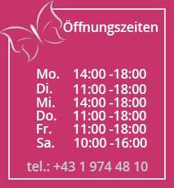 Oeffnungszeiten: Mo- 14:00 bis 18:00; Di- 11:00 bis 18:00; Mi- 14:00 bis 18:00; Do- 11:00 bis 18:00; Fr- 11:00 bis 18:00; Sa- 10:00 bis 16:00;
