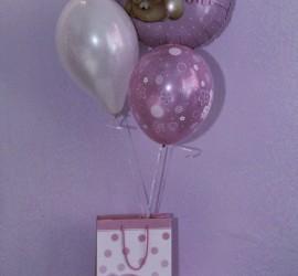 Luftballons it´s a girl und Geschenkesackerl
