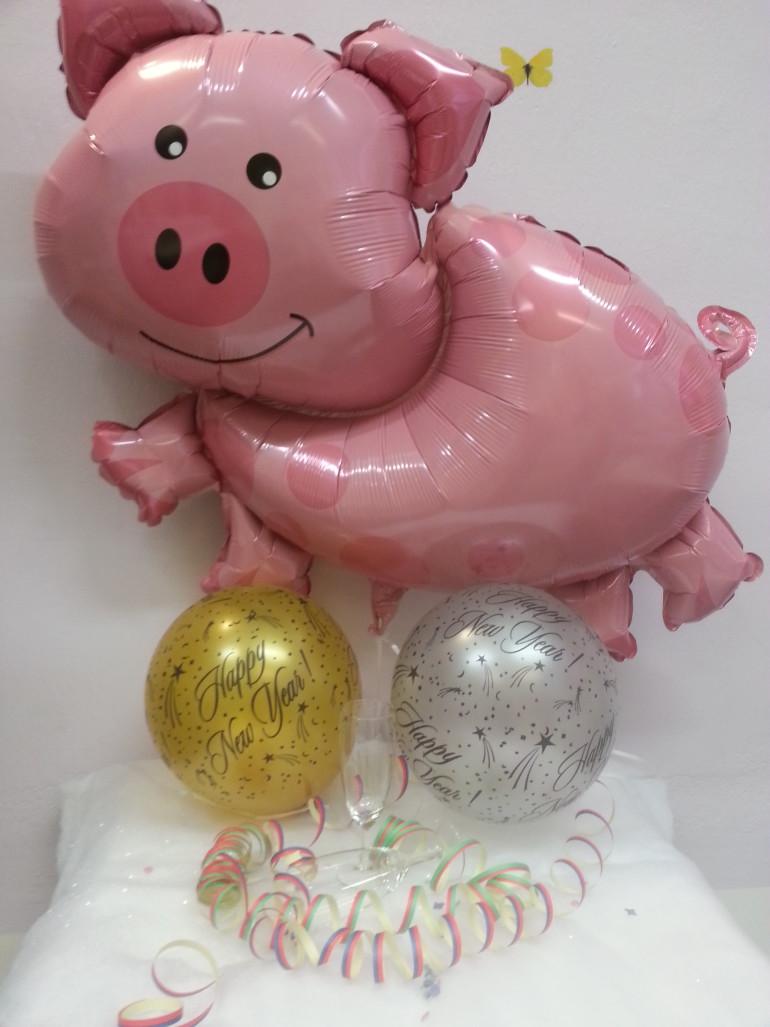 Glücksschweinchen Folienballon mit