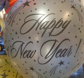 Latexballon Happy New Year silber - Wunderschöne Silvester Deko in verschiedenen Farben erhältlich