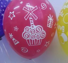 Latexballon pink mit Cupcake