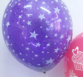 Latexballon violett mit Sternen
