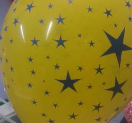 Latexballon gelb mit Sternen