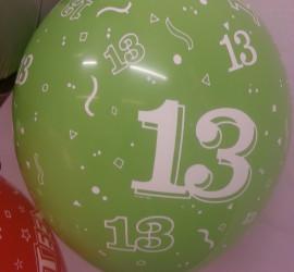 Latexballon grün dreizehn