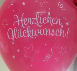 Latexballon rot Herzlichen Glückwunsch