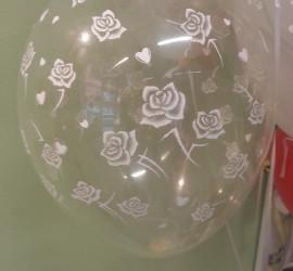 Latexballon durchsichtig mit Rosenblüten weiß