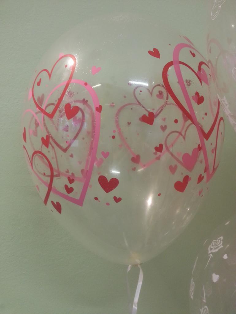 Latexballon durchsichtig mit Herzenaufdruck