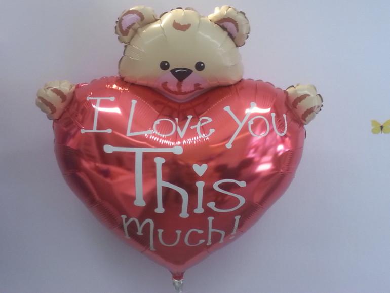 Folienballon I love you this much Bär hält Herz