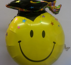 Folienballon Smiley mit Abschluss Hut