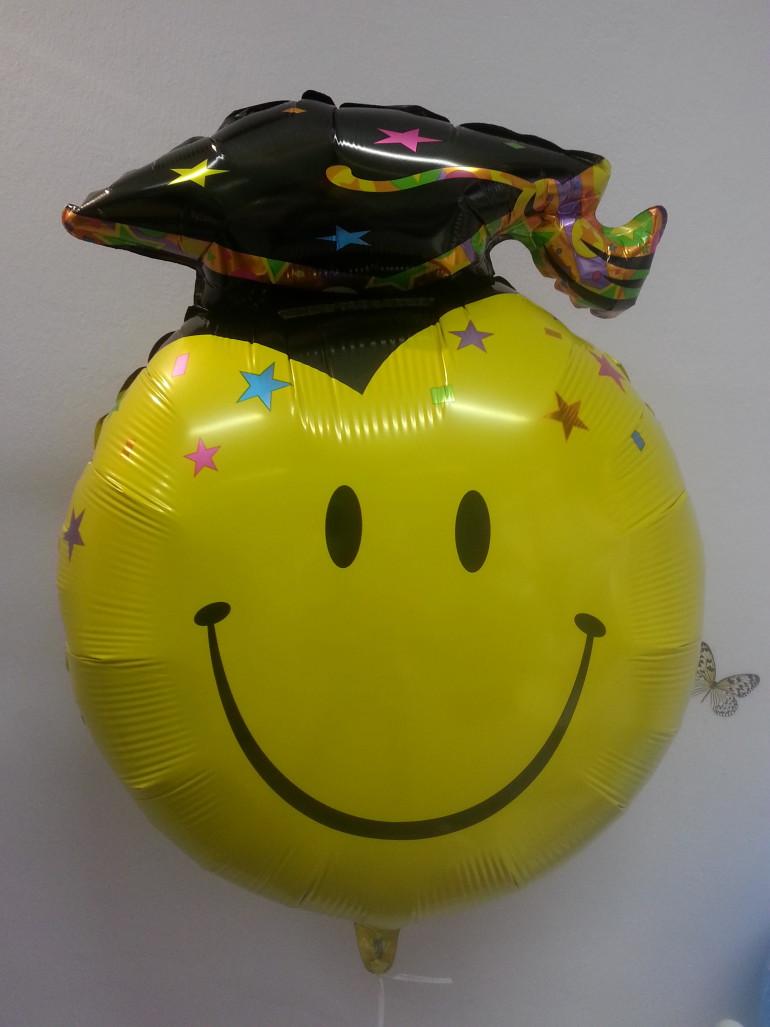 Folienballon Smiley mit Abschluss Hut