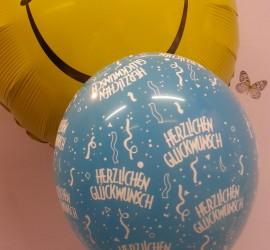 Latexballons blau Herzlichen Glückwunsch