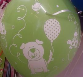 Latexballon grün mit Tieren