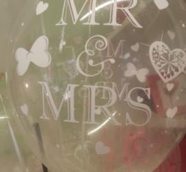 Latexballon Mr. & Mrs. durchschtig
