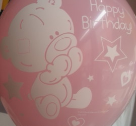 Latexballon Happy Birthday rosa mit Bär