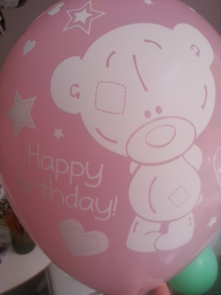 Latexballon Happy Birthday rosa mit Bär
