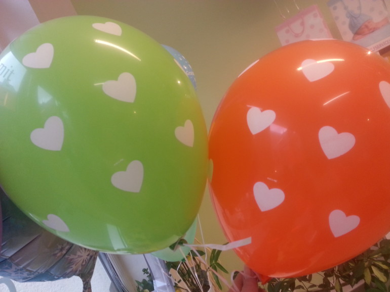 Latexballons mit Herzen diverse Farben
