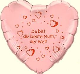 Folienherzballon rosa Du bist die beste Mutti der Welt