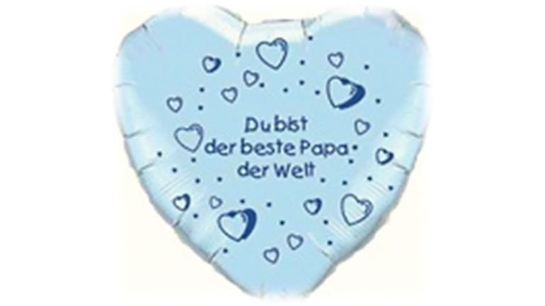 Folienherzballon hellblau Du bist der beste Papa der Welt