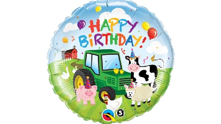 Folienballon Happy Birthday Bauernhoftiere