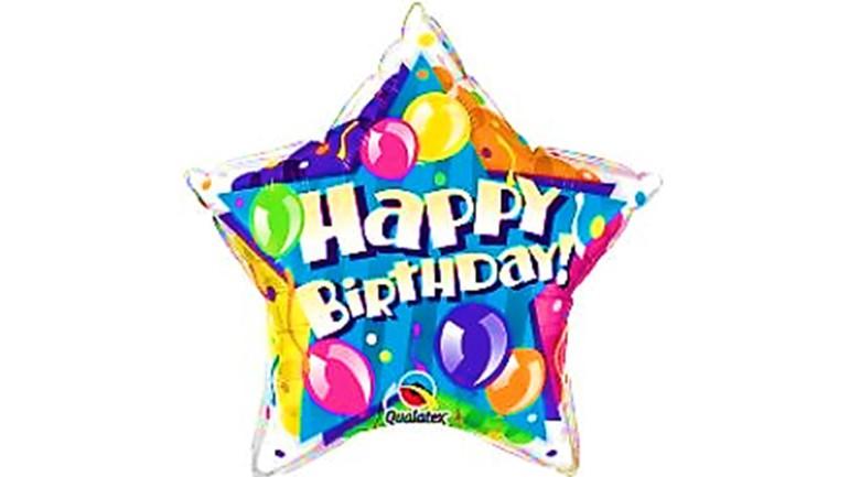 Folienballon Stern Happy Birthday bunt