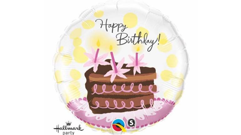 Folienballon Happy Birthday Tortenstück