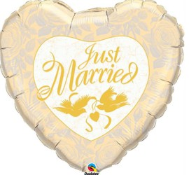 Folienherzballon Just Married gold