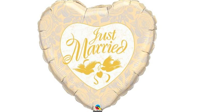 Folienherzballon Just Married gold