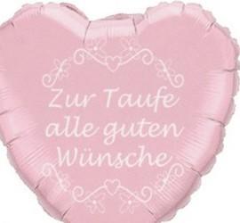 Folienherzballon Zur Taufe alle guten Wünsche rosa