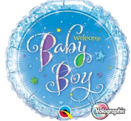 Folienballon Welcome Baby Boy blau