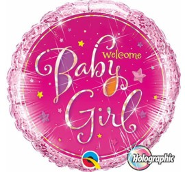 Folienballon Welcome Baby Girl rosa