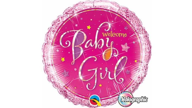 Folienballon Welcome Baby Girl rosa