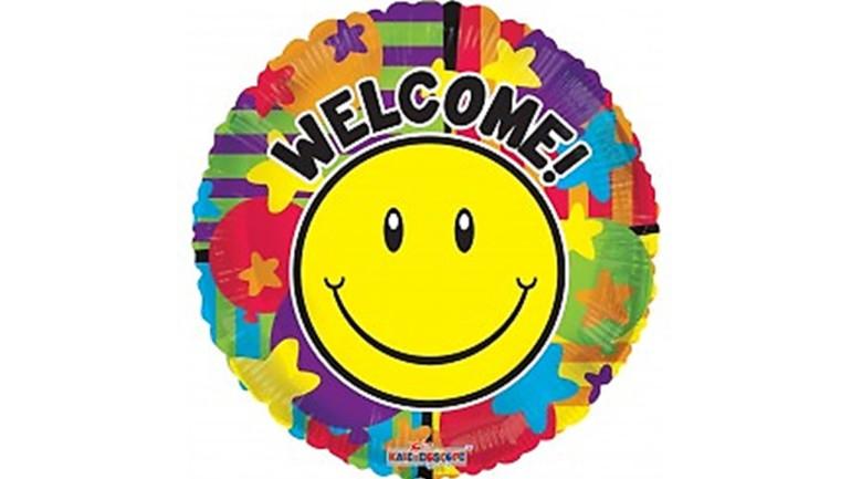 Folienballon Welcome Smiley