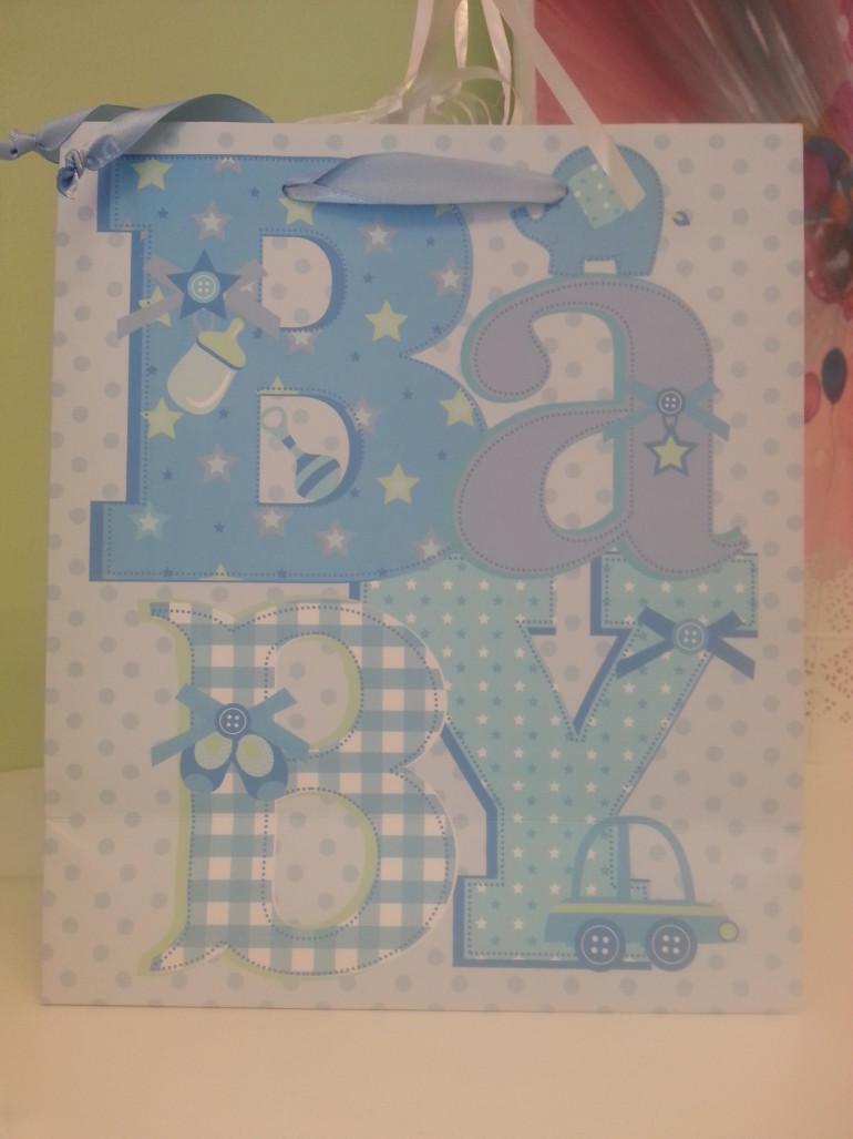 Geschenksackerl Baby blau