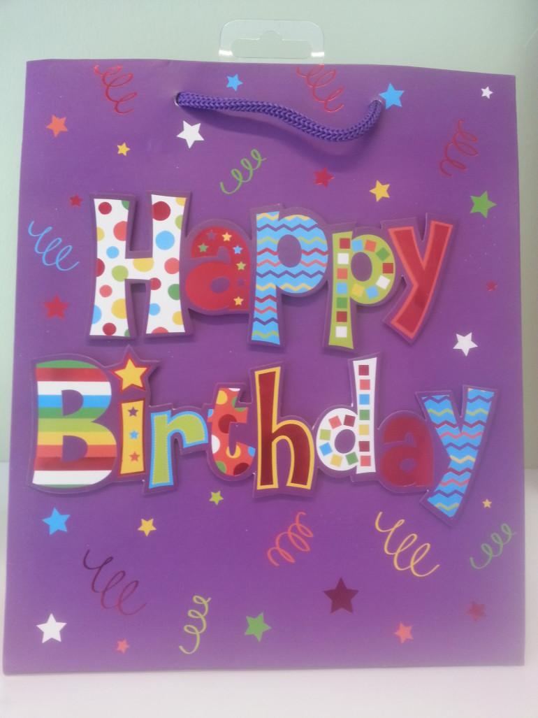 Geschenksackerl Happy Birthday lila
