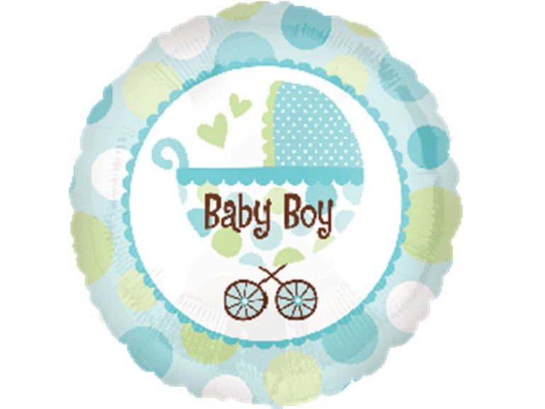 Folienballon Baby Boy Kinderwagen blau