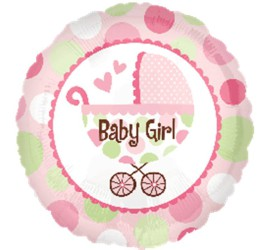 Folienballon Baby Girl Kinderwagen rosa