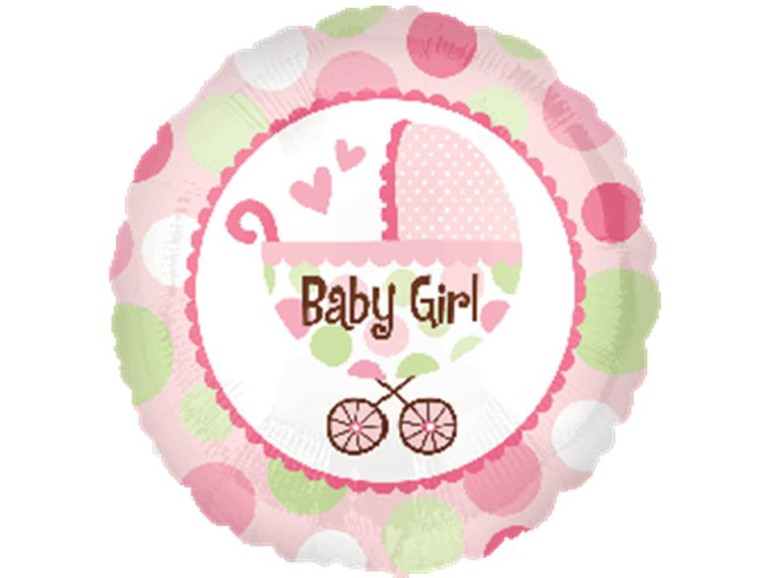 Folienballon Baby Girl Kinderwagen rosa