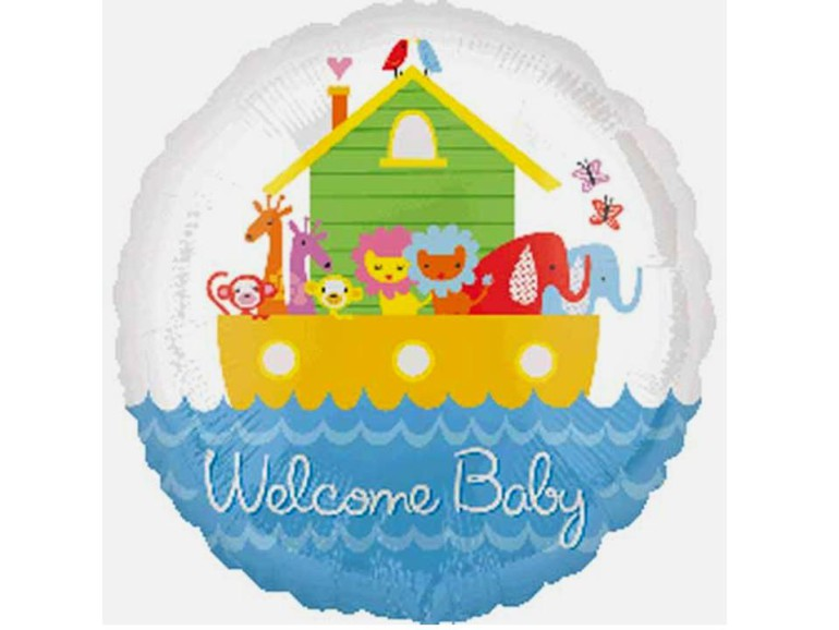 Folienballon Welcome Baby mit Arche Noah