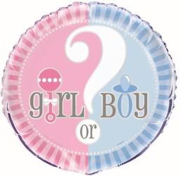 Folienballon Girl or Boy rosa blau mit Fragezeichen
