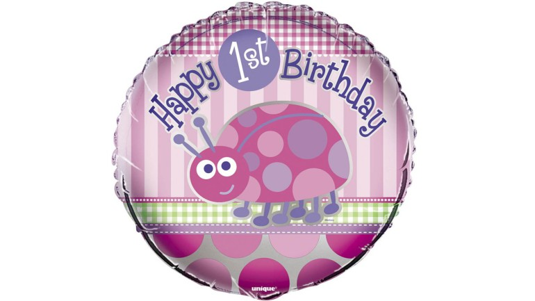 luftballons happy 1st birthday rosa butterflyballoons. Black Bedroom Furniture Sets. Home Design Ideas