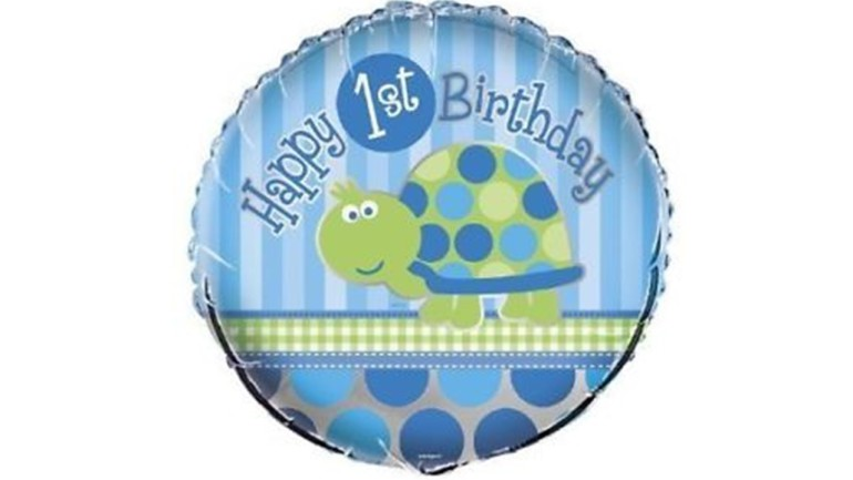Folienballon Happy 1st Birthday blau mit Schildkröte