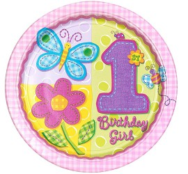 Folienballon 1st Birthday Girl rosa Schmetterling und Blüte