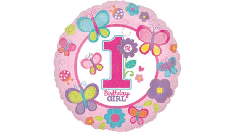 Folienballon 1st Birthday Girl rosa