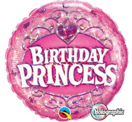 Folienballon Birthday Princess rosa