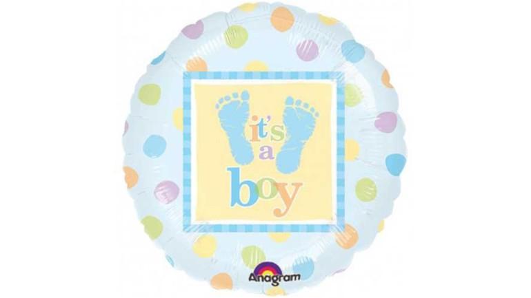 Folienballon it's a boy kleine Füsse blau