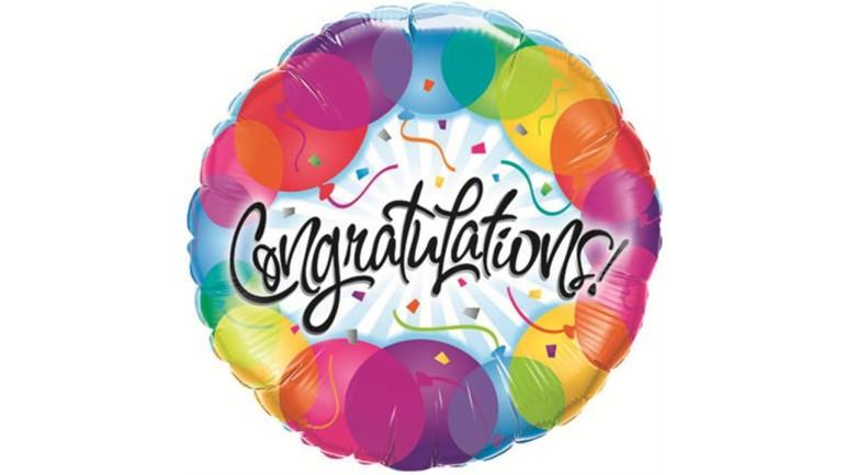 Folienballon bunt Congratulations
