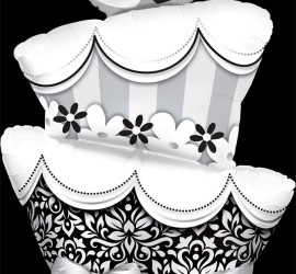 Folienballon Hochzeitstorte schwarzweiß