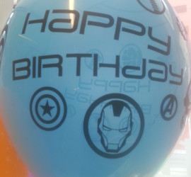 Latexballon blau Happy Birthday Avengers