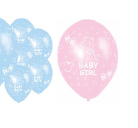 Latexballons Baby Girl rosa Baby Boy blau