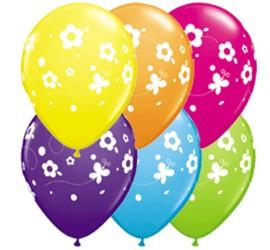 Latexballons Schmetterlinge und Blumen diverse Farben